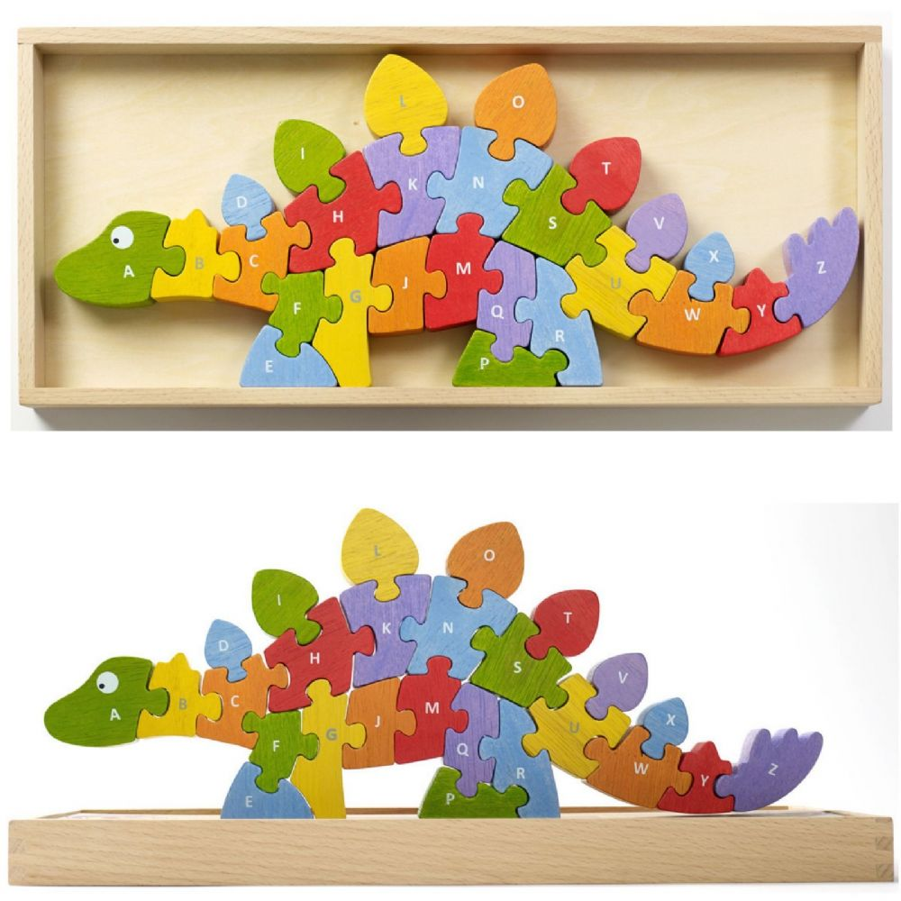 Begin Again Colourful Wooden Dinosaur A-Z Double-Sided Puzzle 26 Pieces`5+ Yrs